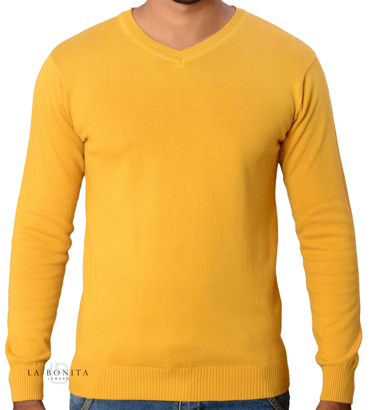 Hot Fashion 2016 Casual Men's Plain Yellow V-Neck Pullover Sweater ...